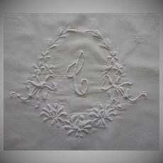 Monogram C Antique Pillowcase White Work Hand Embroidery TLC
