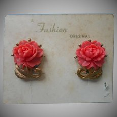 Vintage Earrings Bright Coral Color Molded Plastic Roses Clip