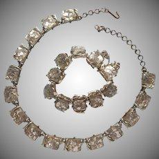 Confetti Lucite Necklace Bracelet Vintage Silver Color Glitter