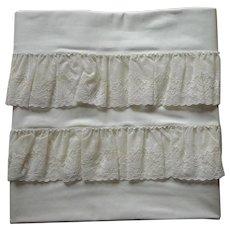 Pillowcases Alencon Lace Trim Unused Cotton Vintage 1950s