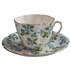 Hammersley Blue Roses Bone China Cup Saucer Vintage English