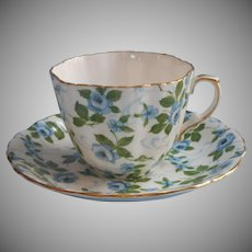 Hammersley Blue Roses Bone China Cup Saucer Vintage English