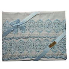 Pillowcases Unused Vintage Bue Embroidery White Cotton