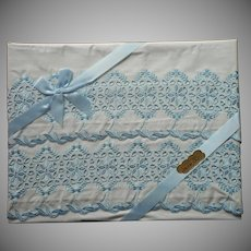 Pillowcases Unused Vintage Bue Embroidery White Cotton