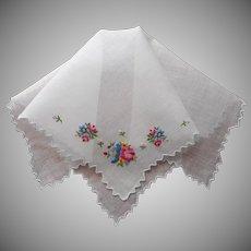 Vintage Hankie Hand Embroidered Flowers Unused Handkerchief