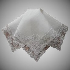 Vintage Hankie Lace Linen Unused Handkerchief