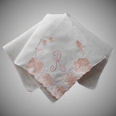 Monogram R Hankie Handkerchief Madeira Pink Satin Applique Linen Vintage