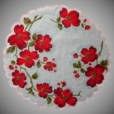 Round Hankie Vintage Printed Cotton Aqua Red Dogwood TLC