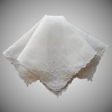 Vintage Hankie Linen White On White Hand Embroidery Handkerchief