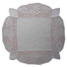 Antique Centerpiece Doily Linen Filet Crocheted Lace Grapes