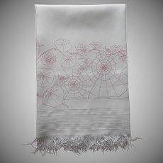 Red Work Towel Antique Spider Webs Nasturtiums Hand Embroidered