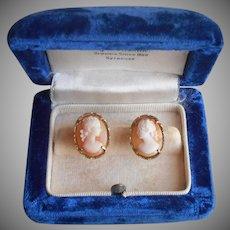 1950s Italian Shell Cameo Earrings Vintage 800 Silver Gold Vermeil