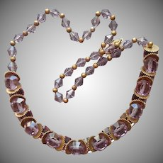 1920s to 1930s Necklace Purple Glass Brass On Wire Unusual Discs
