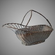 French Wine Caddy Basket Vintage Woven Alpaca Silver Colored Metal