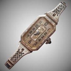 1920s 19K White Gold Filled Bulova Ladies Watch Vintage Art Deco Runs