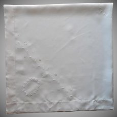 1910s Square Tablecloth Antique Linen Cutwork Embroidery All White