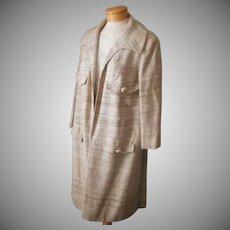 1960s Raw Silk Coat Skirt Set Vintage Barberini 6 to 8