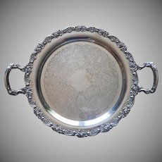 Vintage Tray Silver Plated Roses Rim Handles Round Oneida