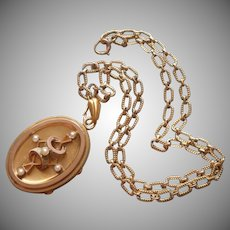 Victorian Locket On Chain Seed Pearls Necklace Antique Deep Compartment
