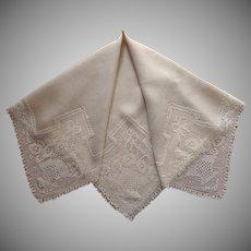1910s Tablecloth Natural Color Linen Filet Crocheted Lace Baskets Square Antique