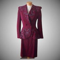 1940s Suit Peplum Jacket Glass Beading Skirt Wool TLC As Is 6