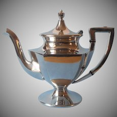 Antique Teapot ca 1915 Silver Plated Simple Classic Paneled