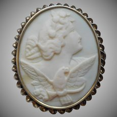 Antique Cameo Pin Aurora With Eagle Carved White Conch Shell