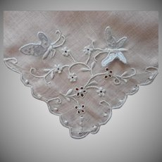 Vintage Hankie Attached Butterflies Madeira Hand Embroidered