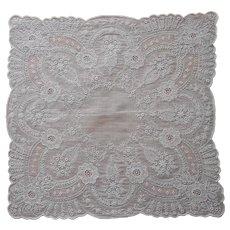 Exquisite All Over Hand Embroidery Hankie Handkerchief Wedding Vintage Unused