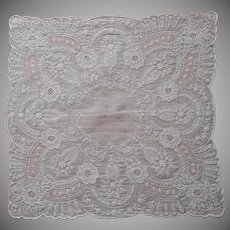 Exquisite All Over Hand Embroidery Hankie Handkerchief Wedding Vintage Unused