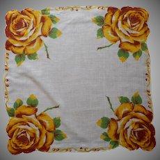 Vintage Hankie Printed Linen Golden Yellow Roses Handkerchief