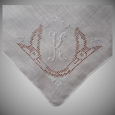 Monogram K Vintage Hankie Linen Hand Embroidery All White