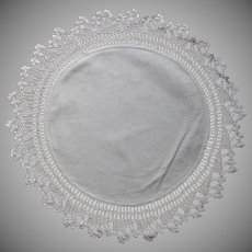 Antique Small Centerpiece Tray Doily Crocheted Lace Cotton