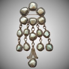 Chinese Export Pin Vintage Large Dangles Magnesite Stones