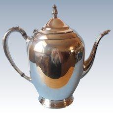 Oneida Fiesta Silver Plated Coffee Pot Large Teapot Vintage