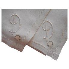 Monogram D 2 Irish Linen Men's Handkerchiefs Vintage Hankies