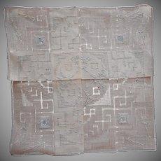 Vintage Hankie Unused Allover Blue Hand Embroidery Vintage Linen