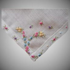 1920s Hankie Hand Embroidery Tiny Flowers Vintage Linen