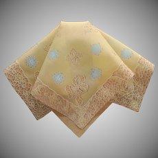 Vintage Hankie Unused Vintage Printed Cotton Golden Yellow Blue