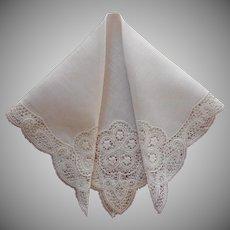 Vintage Hankie Unused Lace Linen Handkerchief Wedding