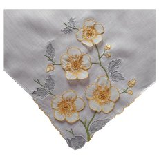 Outstanding Madeira Hankie Organdy Applied Flowers Linen Vintage Handkerchief
