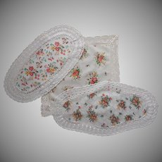 Calico Lace Vintage Centerpiece Doilies 2 Runner Printed Cotton Fall Colors