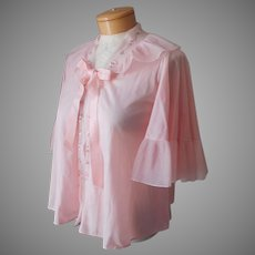 Bed Jacket Vintage Pink Nylon Embroidery Crystal Pleated Size S