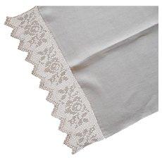 Antique Towel Filet Crocheted Lace Natural Colored Linen
