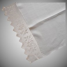 Antique Towel Filet Crocheted Lace Natural Colored Linen