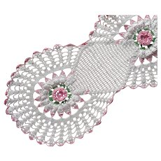 Crocheted Lace Runner Pink White Green Vintage Rosettes