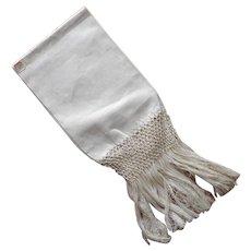 Antique Towel Italy Linen Damask Long Fringes Unused