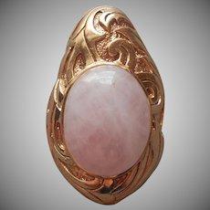 Rose Quartz Bronze Vintage Enhancer for Necklace Pendant Thailand