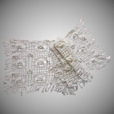 Antique Lace Curtain Valance Crocheted Heavy Fringed 1910s