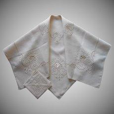 Italian Work Tea Tablecloth Napkins Vintage 1920s Unused Hand Embroidered